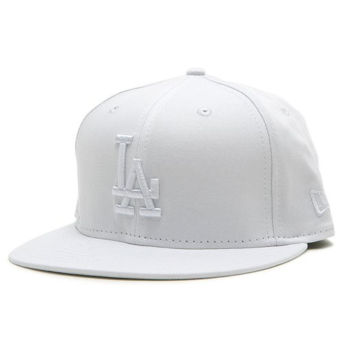 Los Angeles Dodgers Basic White On White 59Fifty Fitted Cap Size 8 1/8
