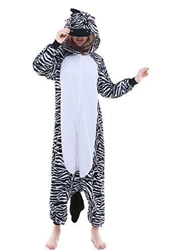 CANASOUR Halloween Adult Onesie Party Unisex Women's Onesie Costume (Medium, Zebra) -