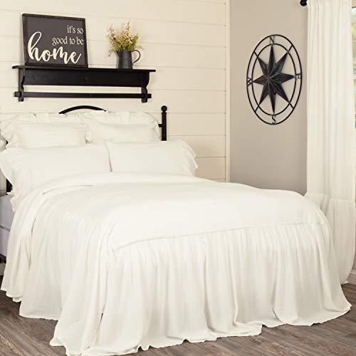 Piper Classics Annabelle Ruffled Bedspread, King Size, Skirted on 3 Sides, Antique Soft White, Lightweight, Farmhouse Style Bedding (French Quilted Pillow)