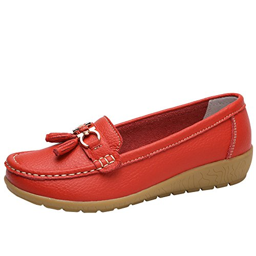 ade Women Shoes -Casual Soft Bottom Wedges Peas Shoes (Red,US:7/CN:39) ()