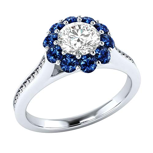 Eternal Flower Ring Simple Womens Zircon Commitment Flower Ring Plated 925 Silver Ring 10 Blue MGZDH Ms No