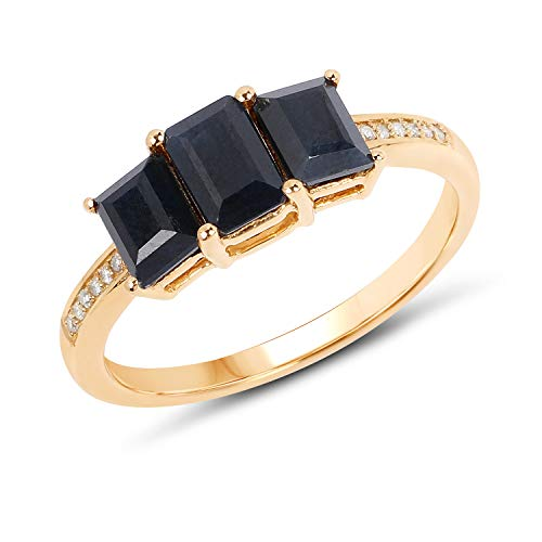 (Bonyak Jewelry Genuine Baguette Blue Sapphire and Blue Sapphire Ring in 14k Yellow Gold - Size 7.00)