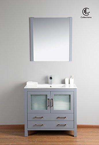 Newport 36″ Freestanding Vanity with Ceramic Top in Grey
