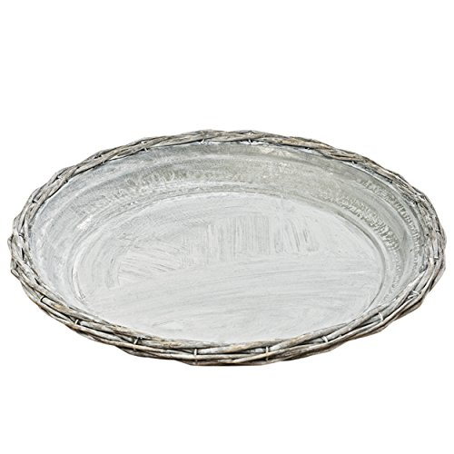 Whole House Worlds The Farmer's Market Willow and Galvanized Decorative Tray, Rustic Wicker With Metal Liner, 1 Ft Diameter, By