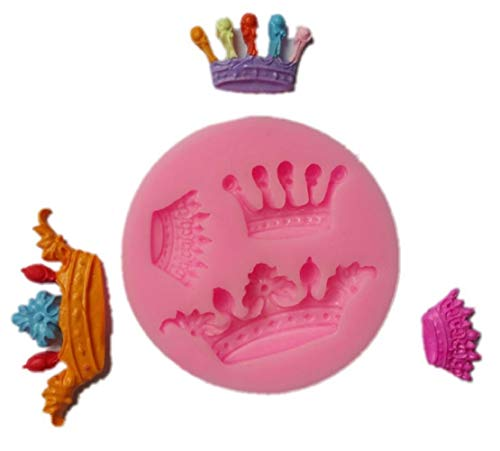 Yunko 3 Cavity Mini Queen Crown Mold Silicone Chocolate Fondant Candy Mold (Mold Crown Silicone)