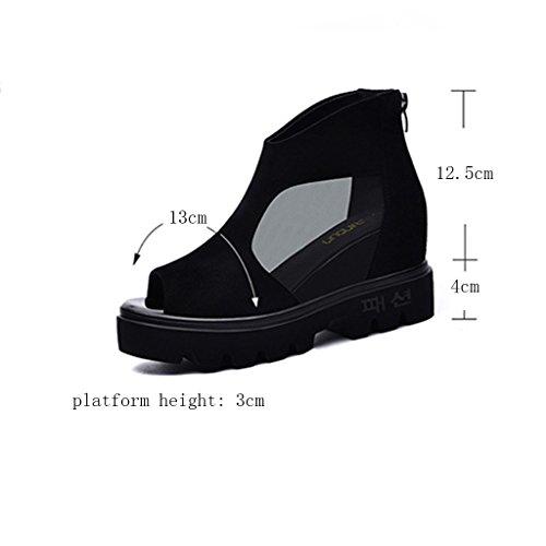 À Épaisse Sandales Chaussures Creux Plates Noir De Semelle Femme 5UvZxwqq