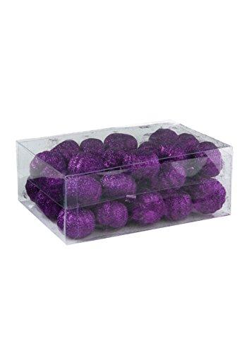 (K&K Interiors Box of 36 Purple Glitter Mini)