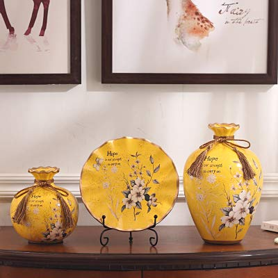 (Willower Hand-Painted European-Style Ceramic vase Three-Piece Set of Living Room Creative Ornaments Bogujia Wine Cabinet Household Flower Arrangement Decorations,Decorative Yellow Three-Piece Suit)