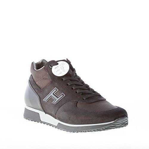 Hogan Uomo Sneaker H198 Mid Cut in Crosta, Pelle e Tessuto Tecnico Nero più Antracite Nero