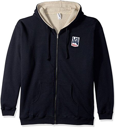 US Ski-Snowboard Licensed Apparel U.S. Ski Team Logo Sherpa Lined Hoodie, Navy, - Team Hoody Logo