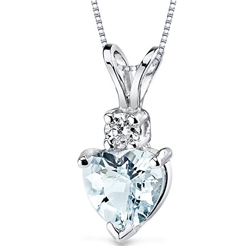 - 14 Karat White Gold Heart Shape 0.75 Carats Aquamarine Diamond Pendant