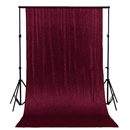 ShinyBeauty Sequin Photo Backdrop Burgundy 4FTx6FT Glitter Curtains Wine Sequin Back Drop Fabric Photography Background Maroon Sequin Wedding Backdrop ~0319S