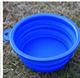 1pcs Foldable Portable Dog Bowl Cute Portable Silicone Collapsible Folding Pet Bowl Travel Cat Pet Bowl Feeding Water Food Color Blue