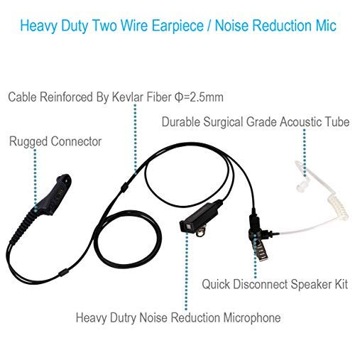 Two Wire Earpiece with Kevlar Reinforced Cable for Motorola