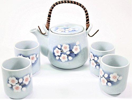 "6"" Blue Spring Flower Japanese Ceramic Tetsubin Teapot & Teacups Infuser with Rattan Handle Tea Set"