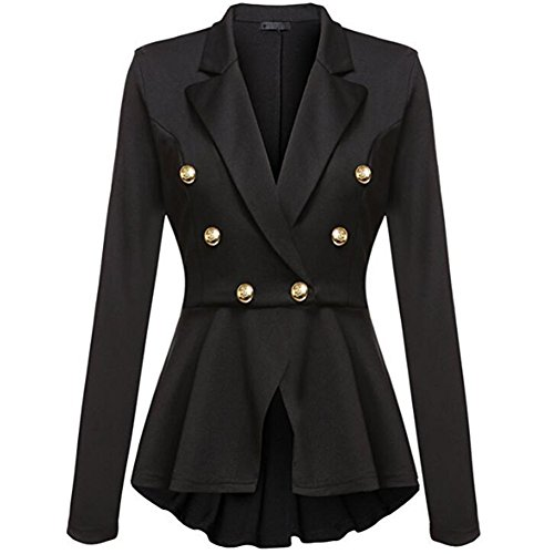 (Newbestyle Women's Steampunk Vintage Peplum Blazer One Button Crop Frill Ruffle Hem Military Blazer Jacket Coat Black M )
