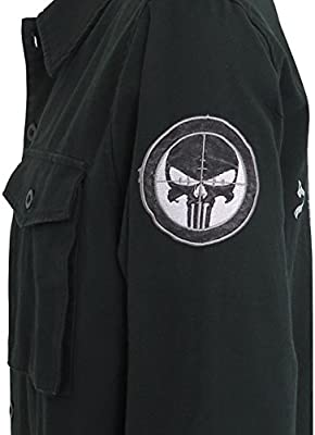 Long Sleeve Coat LICENSED NEW Marvel PUNISHER Vigilante Men/'s Utility Jacket