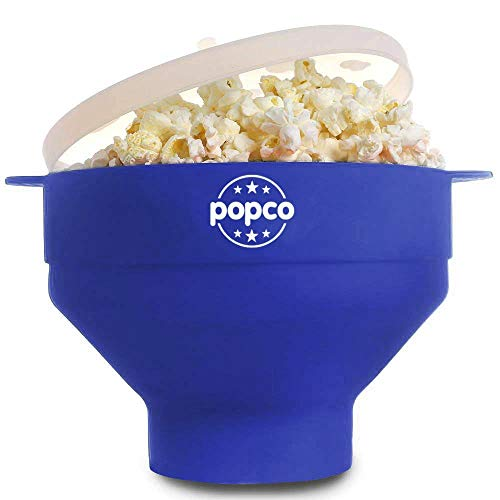 The Original Popco Silicone Microwave Popcorn Popper with Handles, Silicone Popcorn Maker, Collapsible Bowl Bpa Free and Dishwasher Safe (Blue)