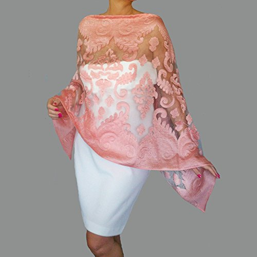 53342dd6ef1f0 Pink Shawl Blue Wedding Stole Mother Of The Groom Dress Wrap By ZiiCi Shawls  Handmade Products