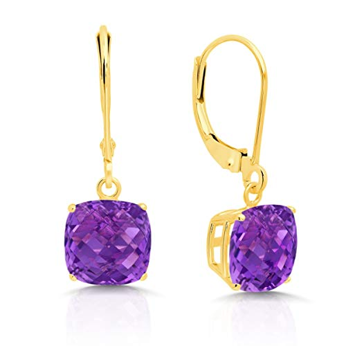 14k Yellow Gold Amethyst Dangle Leverback Earrings (8mm)