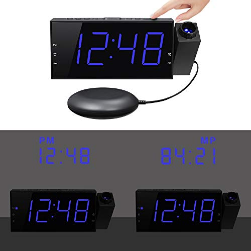 Mesqool Projection Clock with Bed Shaker Alarm, Loud Alarm Sound & Vibrating Projector Clock for Heavy Sleepers, 7'' LED Display & Dimmer,12/24H, DST, USB Charger, Battery Backup for Bedrooms, Ceiling by Mesqool (Image #5)