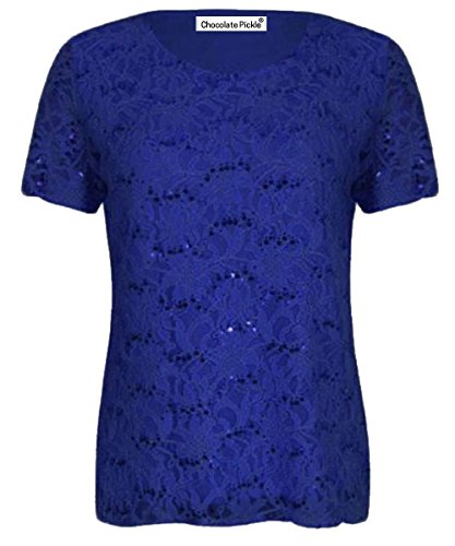 Damen Pailletten Spitze, Flügelärmel, Blumenmuster, aus Spitze, Übergrößen, Tunika 12-26 Blau - Königsblau