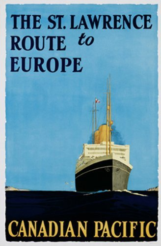 The St Lawrence Route to Europe 36x24 Vintage Travel Art Print Poster Buyartforless Canadian Pacific Ocean Liner