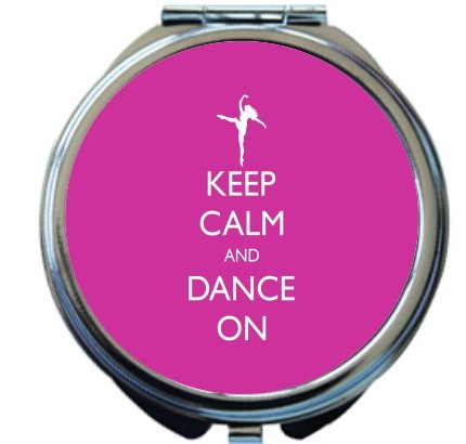 Rikki Knight Keep Calm and Dance On Pink Rose Color Design Round Compact Mirror by Rikki Knight