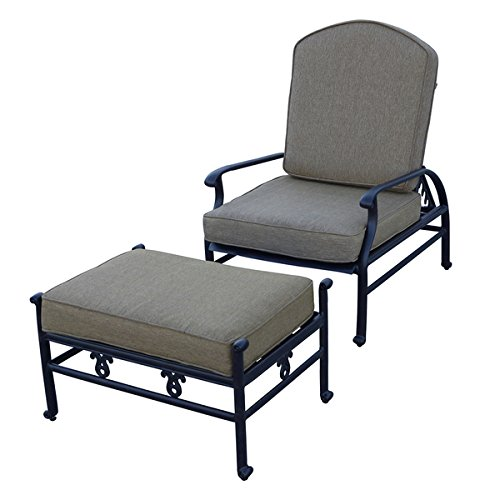 Darlee Catalina Cast Aluminum Adjustable Cushioned Club Chair and Ottoman (Cast Aluminum Club Chair)