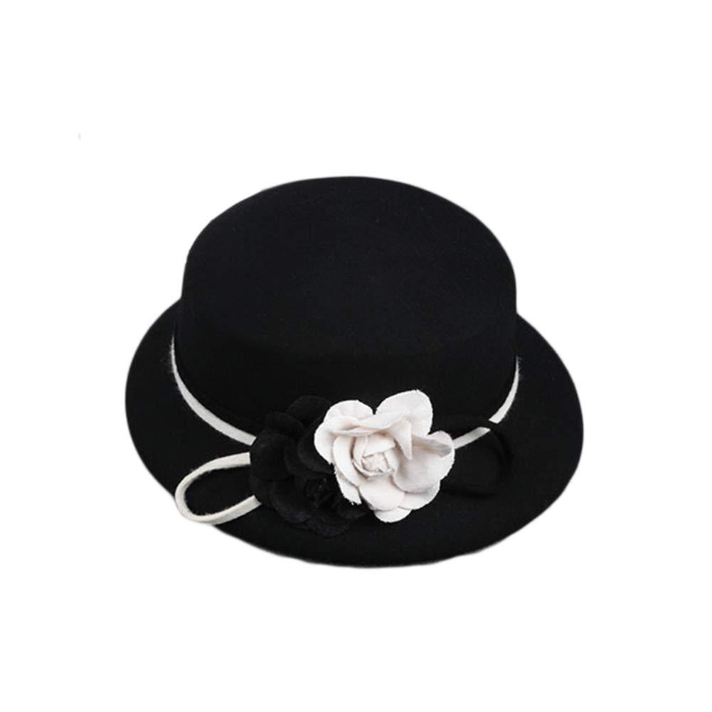 BFAWZ-FF Sombrero de Lana de Camelia de Moda, Temperamento de ala ...