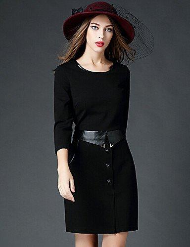 GSP-Damen Kleid - Übergrößen Leger Solide Übers Knie Baumwolle Rundhalsausschnitt