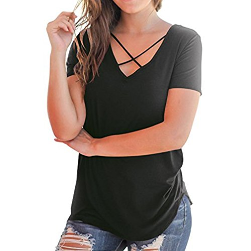 Croix courtes manches Casual T devant en Noir à shirts V Solide Tefamore Criss ❤️Femmes UXnYx1Rx