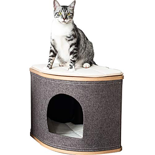 Catry, Wooden Cat House Cat Condo Cat Bed with Jute Fiber Fan-Shaped for Any Size