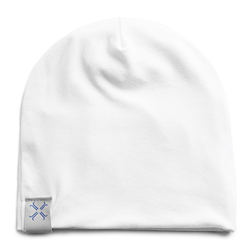 Jacqueline & Jac Newborn Baby Beanie Hat– Natural Cotton Blend. Ideal Baby Shower Gift. Unisex Gift for Baby Girl and Boy (White, 3-6 Months)
