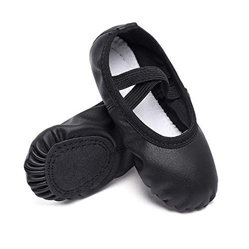 Cute stars Leather Ballet Dance Slippers Shoes for Girls/Kids/Toddlers(1ML,Black) -