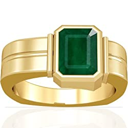 18K Yellow Gold Emerald Cut Emerald Men's Ring