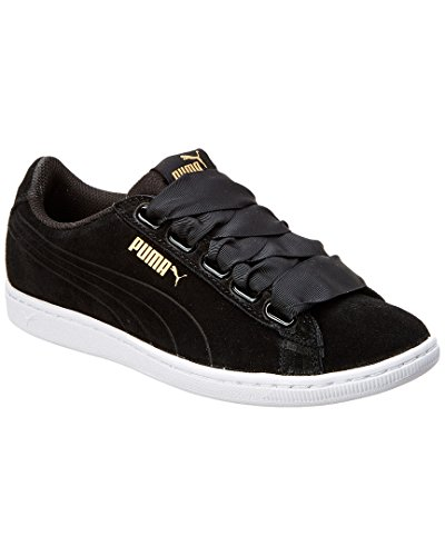 PUMA Women's Vikky Ribbon, Black Black, 8 M (Suede Women Sneakers)