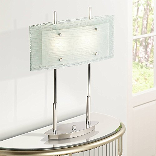 (Charles Street Modern Desk Table Lamp Chrome and Satin Nickel Frosted Tiered Slump Glass Shade Dimmer Switch for Living Room Bedroom Bedside Nightstand Office - Possini Euro)