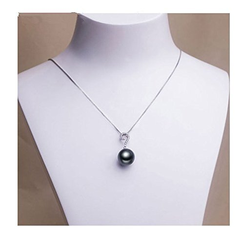 GOWE 925 Sterling Silver 18 Inches Link Chain Tahiti Black Pearl 10mm Perfect Round Pearl Women 1