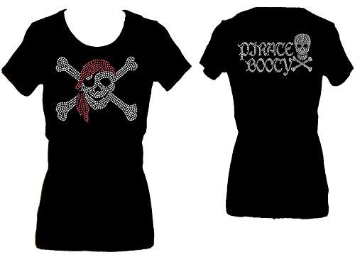 Rockeroo Boutique Pirate Skull Booty Rhinestone Womens Scoop Tee Shirt (s) Black ()