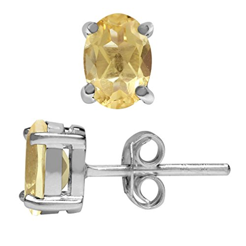 1ct. Natural Citrine 925 Sterling Silver Stud Earrings