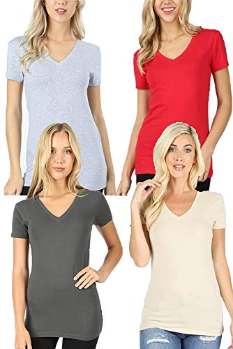 4 Pack Zenana Women's Basic V-Neck T-Shirts - Ash Gray/Taupe/H Gray/Red - Medium