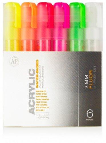 Montana 6-Color Fluorescent Acrylic Marker Set, Fine (053219)