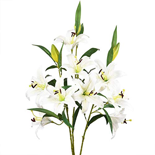 - Sunm boutique Artificial Lily Flowers, Easter Lily Flowers with 9 Full Bloom Flower Heads and 3 Buds, Real Touch Rubbery Lily Flower Bouquets for Easter, Wedding Party Office Home Decor, Pack of 3