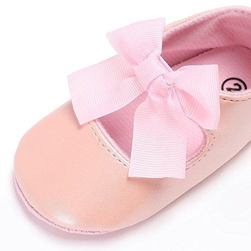 Pu 12 Zapatilla Bowknot Del 6 Niña Pequeños 6 La Para 3 Rosado Mes 12 Bebé Cuero 18 Antideslizantes Niños De Zapatos Auxma nxTOqp8Yfn