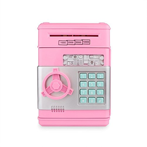 Cash Bank Sunsbell Password Box Saving Banks ATM Coin Saving Coin Cash Banks for Christmas/Thanksgiving (Pink)