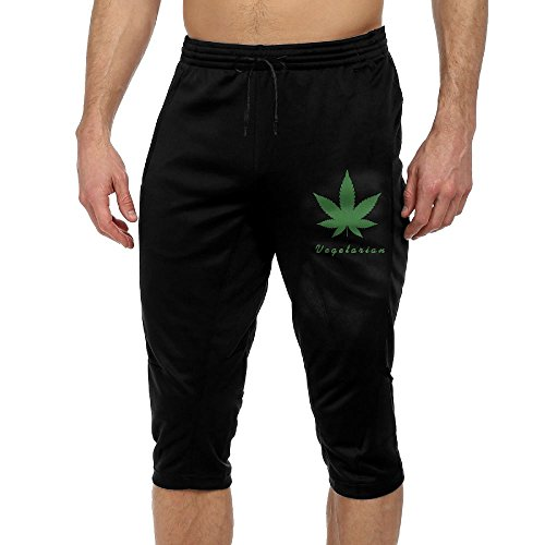 Vegetarian Marijuana Leaf Weed Smoker Cool Active Men's Lightweight Relaxed Fit Drawstring Woven French Terry Capri Pants