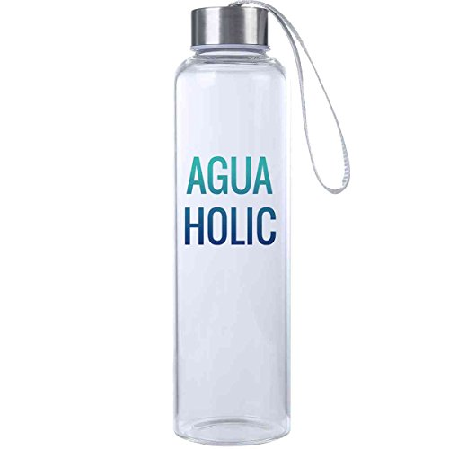 Mad 2 Order Aguaholic Inspirational Fitness Water Bottle, Workout Glass Bottle, BPA Free, Glass, Laugh Everywhere With This 20 oz. Trendy Water Bottle!