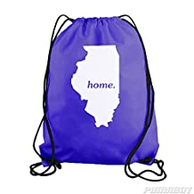 Purple Illinois Home State Drawstring Workout Gym Bag Backpack