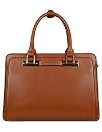 SAIERLONG Women's Cross Body Bag Handbag Tote brown Cow Leather - tetragonum square Briefcase OL commuter